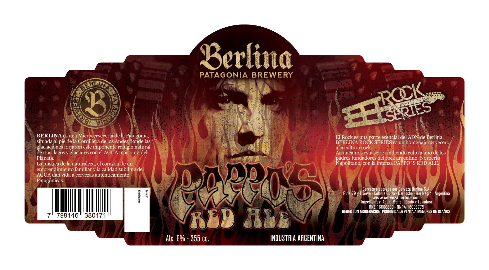Etiqueda de Pappo's Red Ale. Imagen: Cerveza Berlina.